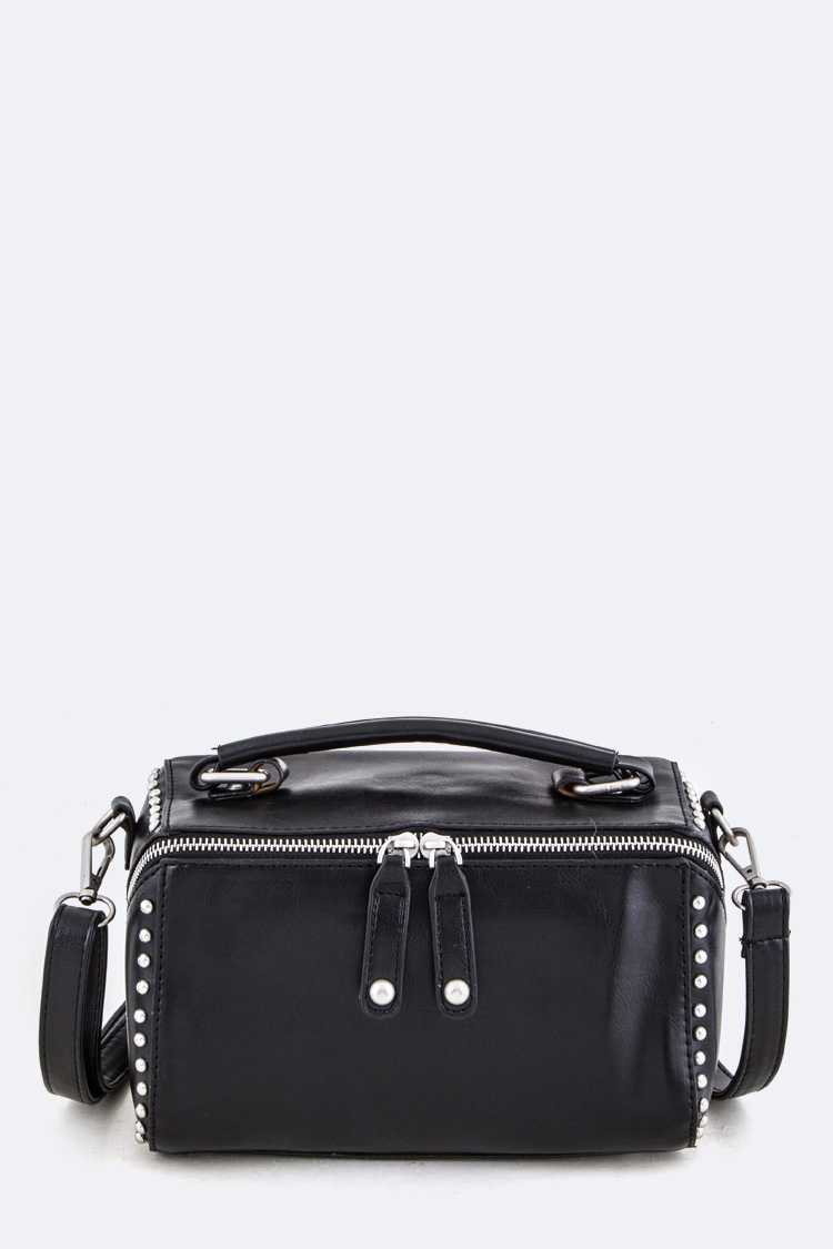 Studded Washed Soft Box Clutch Swing Bag