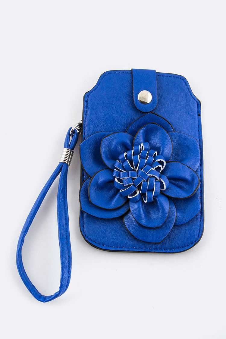 Leather Flower Convertible Mini Pouch