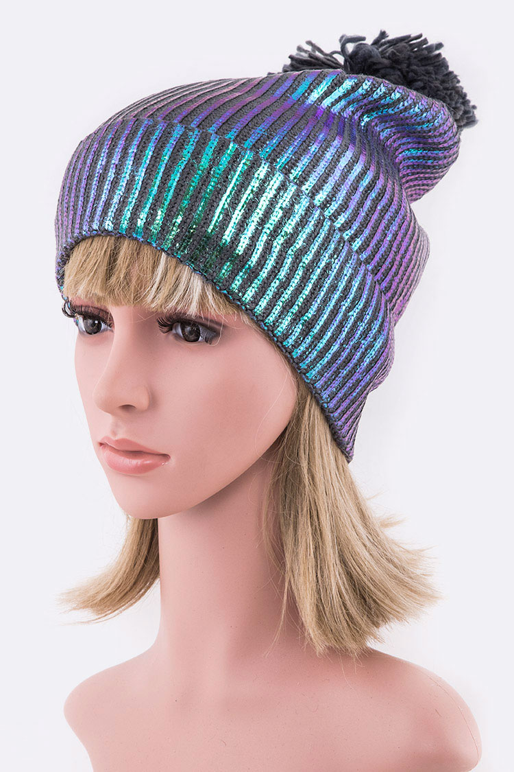 Metallic Coated Rib Beanie