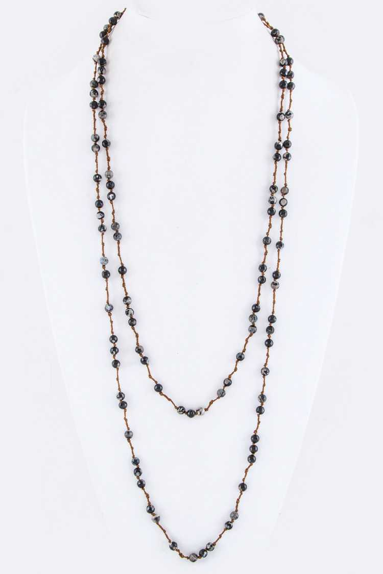 Semi Precious Beads Long Stationed Necklace