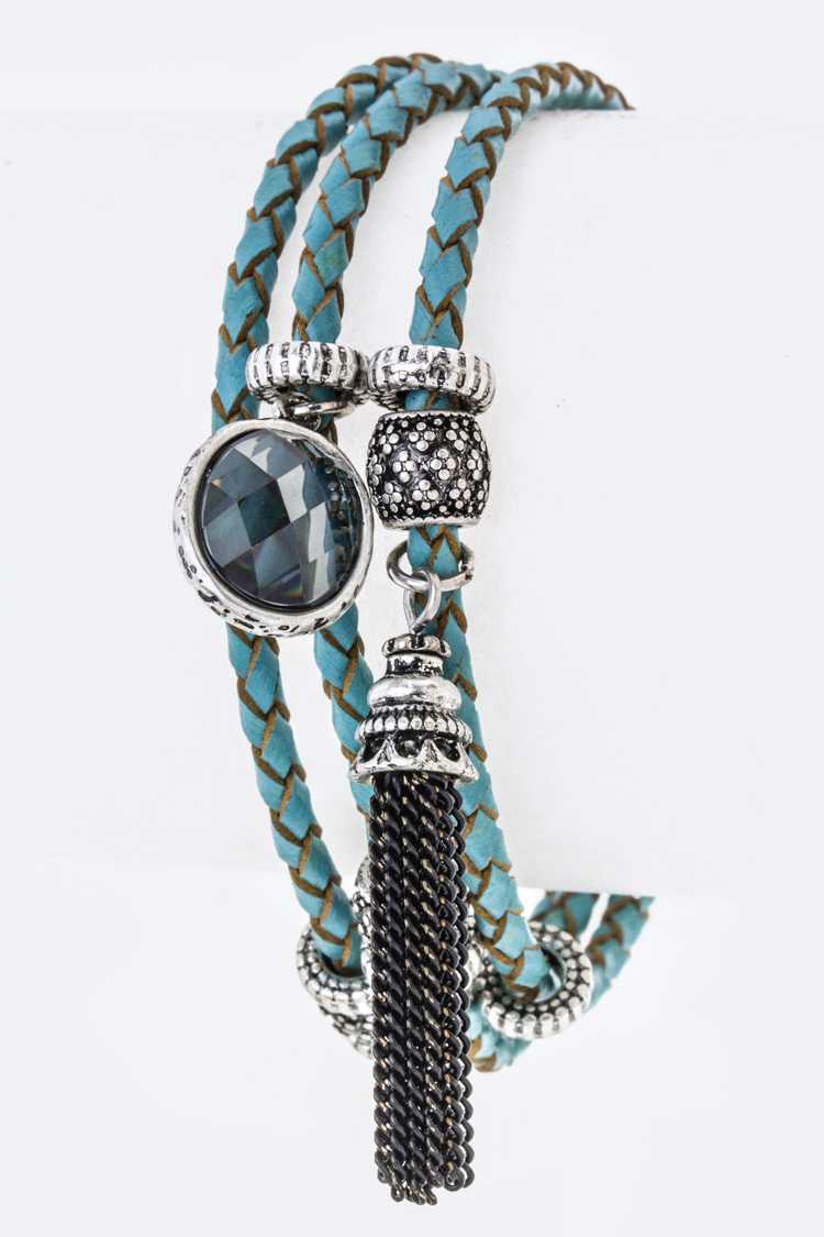 Mix Charms Woven Leather Bracelet