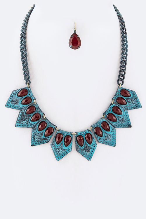 Paved Crystal Plates Statement Necklace Set