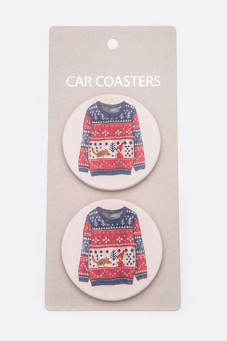 Ugly Sweater Car Coaster Gift Set
