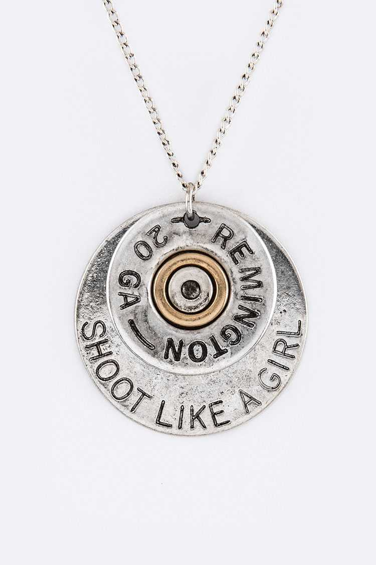 Shoot Like A Girl Disk Pendant Necklace Set - L