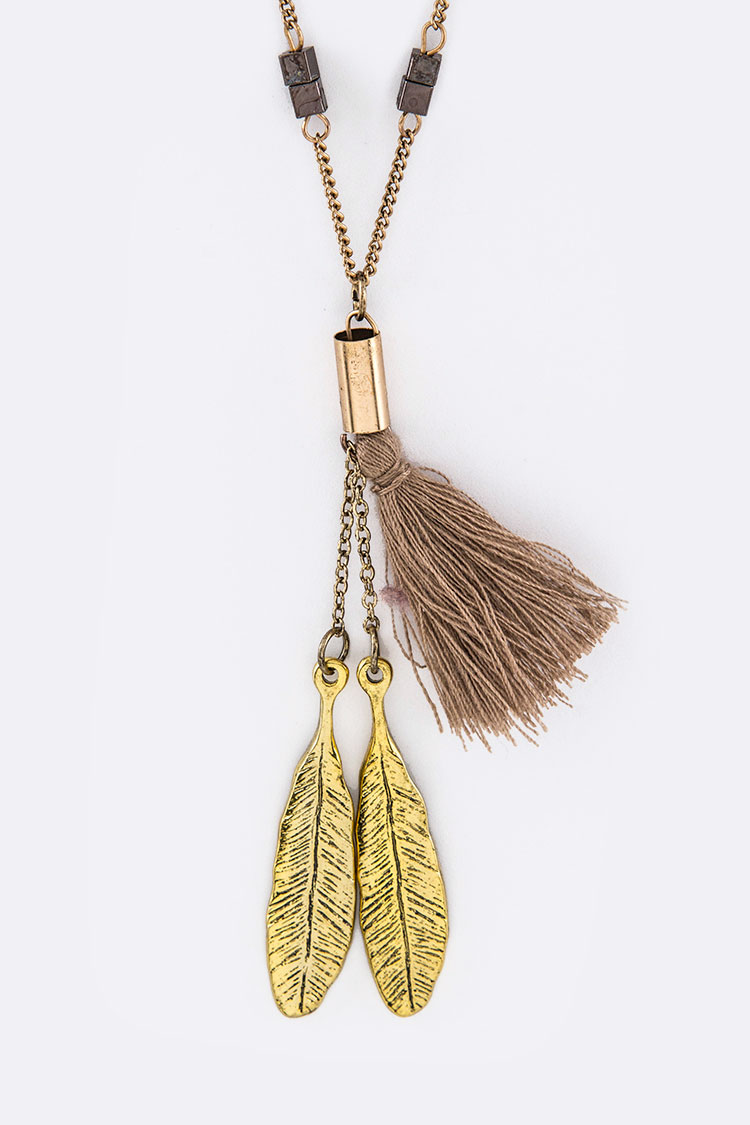 Festival Tassel & Metal Feathers Pendant Necklace