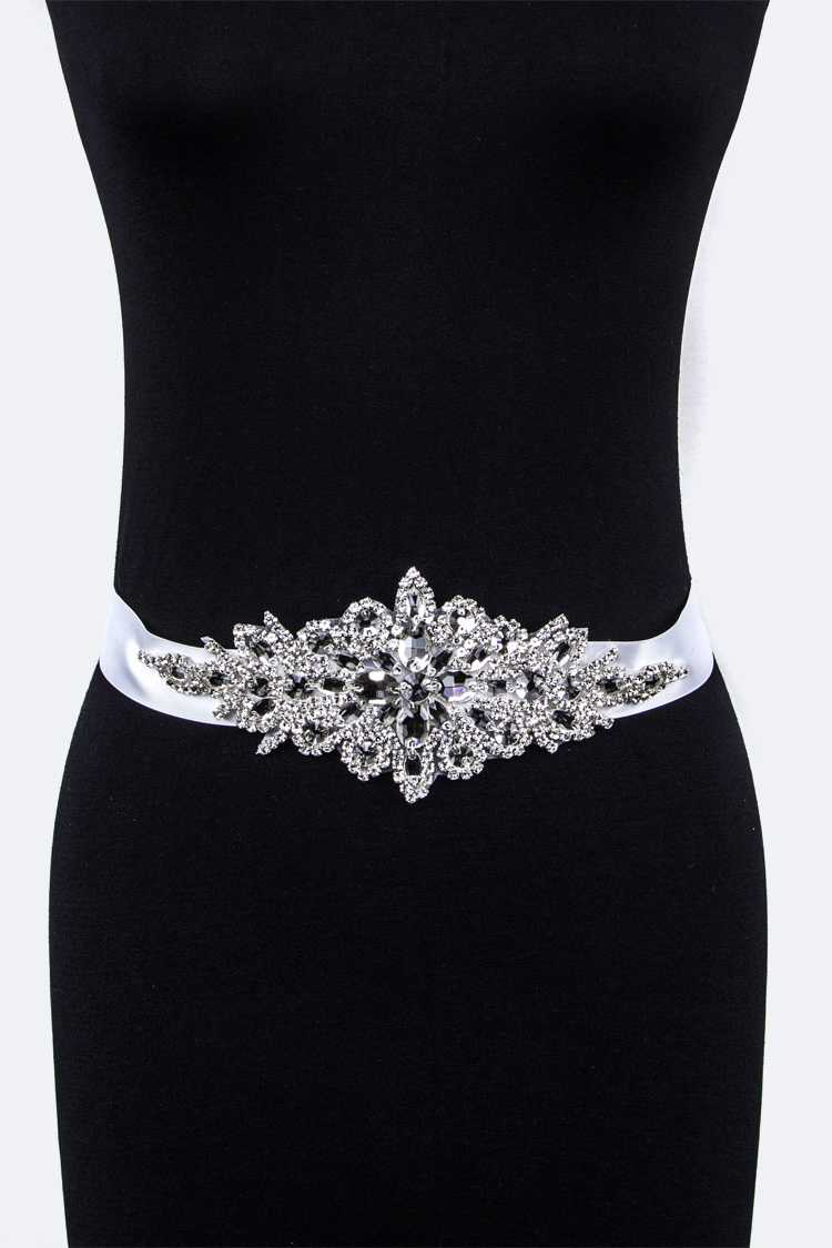 Crystal Flower Bridal Sash