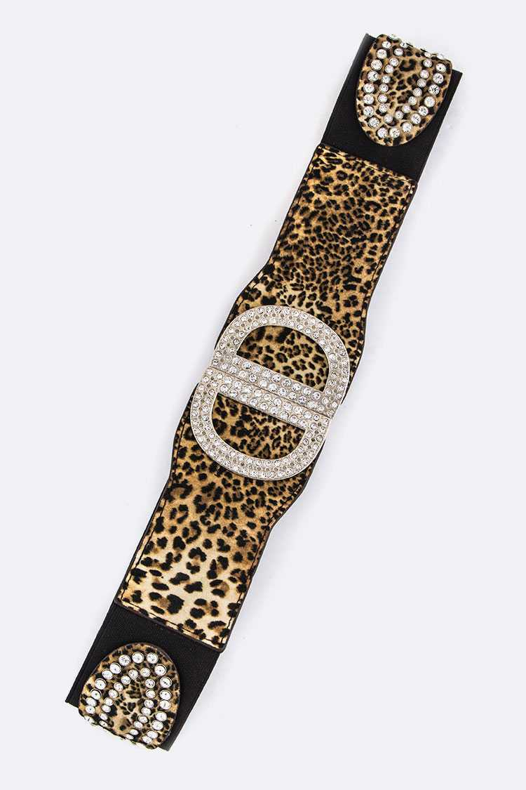 Leopard Print Iconic Crystal Stretch Belt