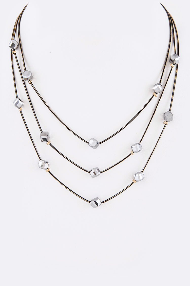 Crystal Cube Station Layered Necklace