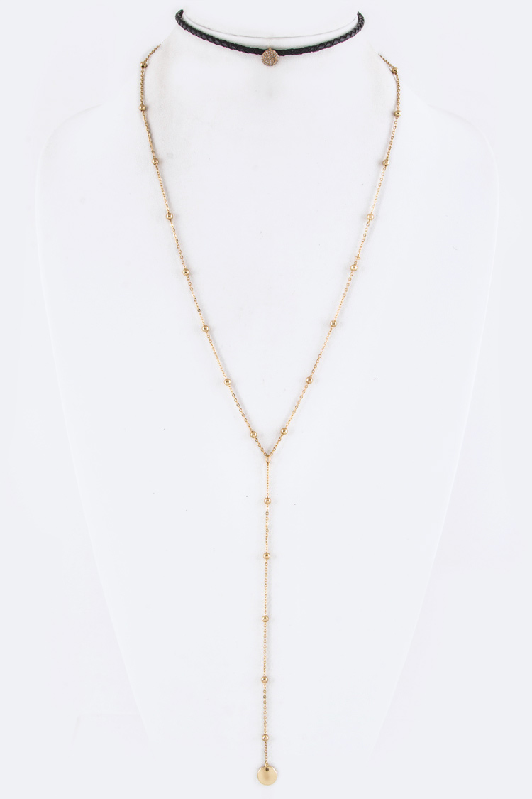 Pave CZ Slider Layer Choker Necklace