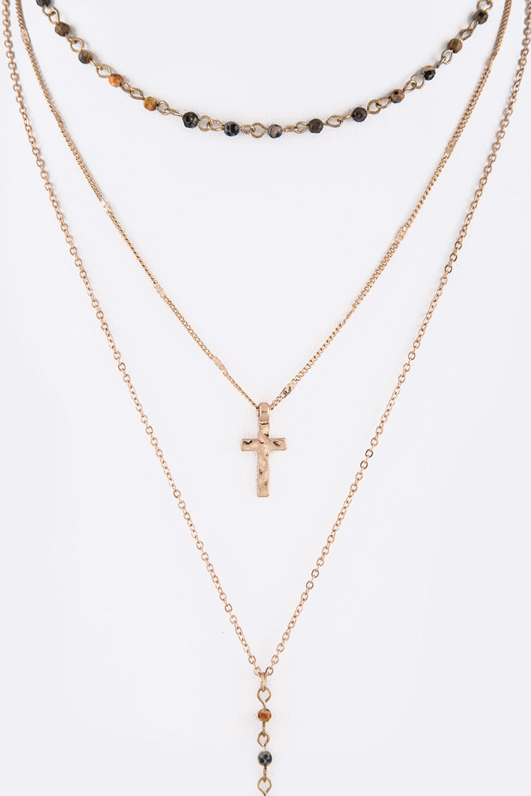 Stone Station Layered Cross & Spear Necklace Set