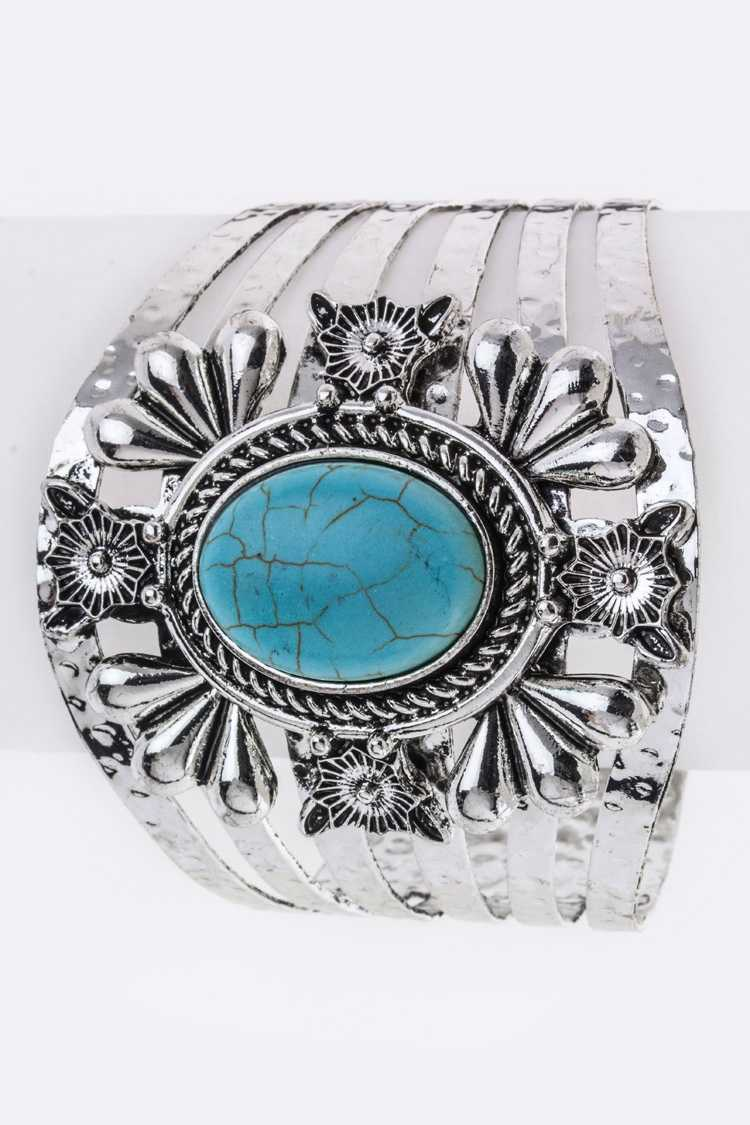 Turquoise Concho Metal Cuff
