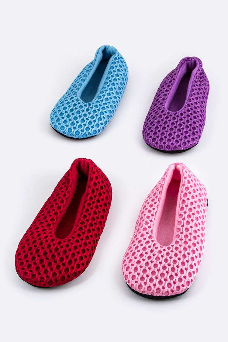Perforated Plushy Slippers Set