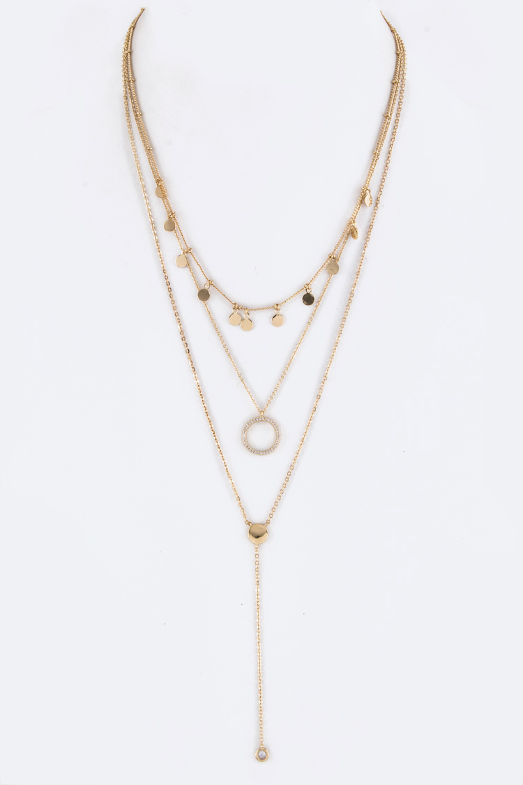 CZ Hoop & Drop Layer Necklace