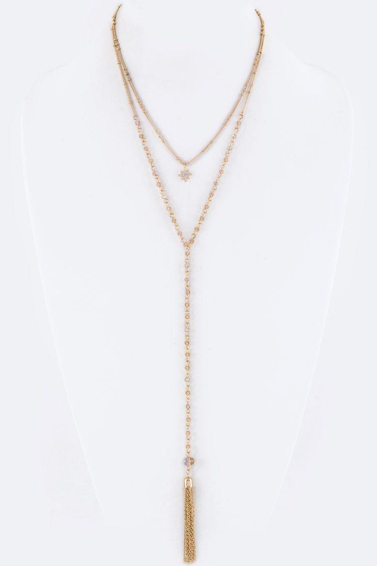 CZ Star Charm & Tassel Drop Necklace