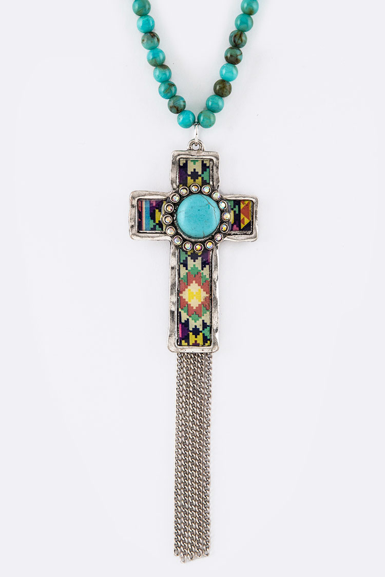 Tribal Print Cross Pendant Necklace Set