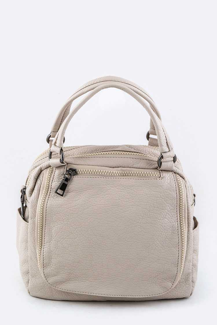 Grain Leather Convertible Hand Bag