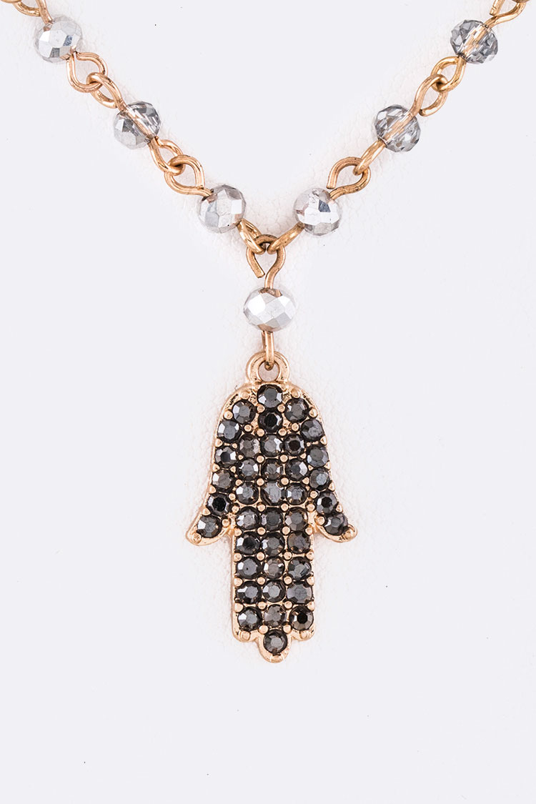 Crystal Pave Hamsa Pendant Necklace Set
