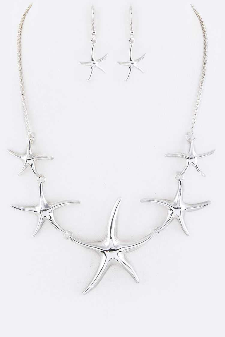 Starfish Statement Necklace Set