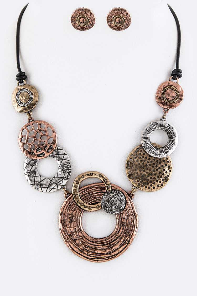 Mix Metal Disks Statement Necklace Set