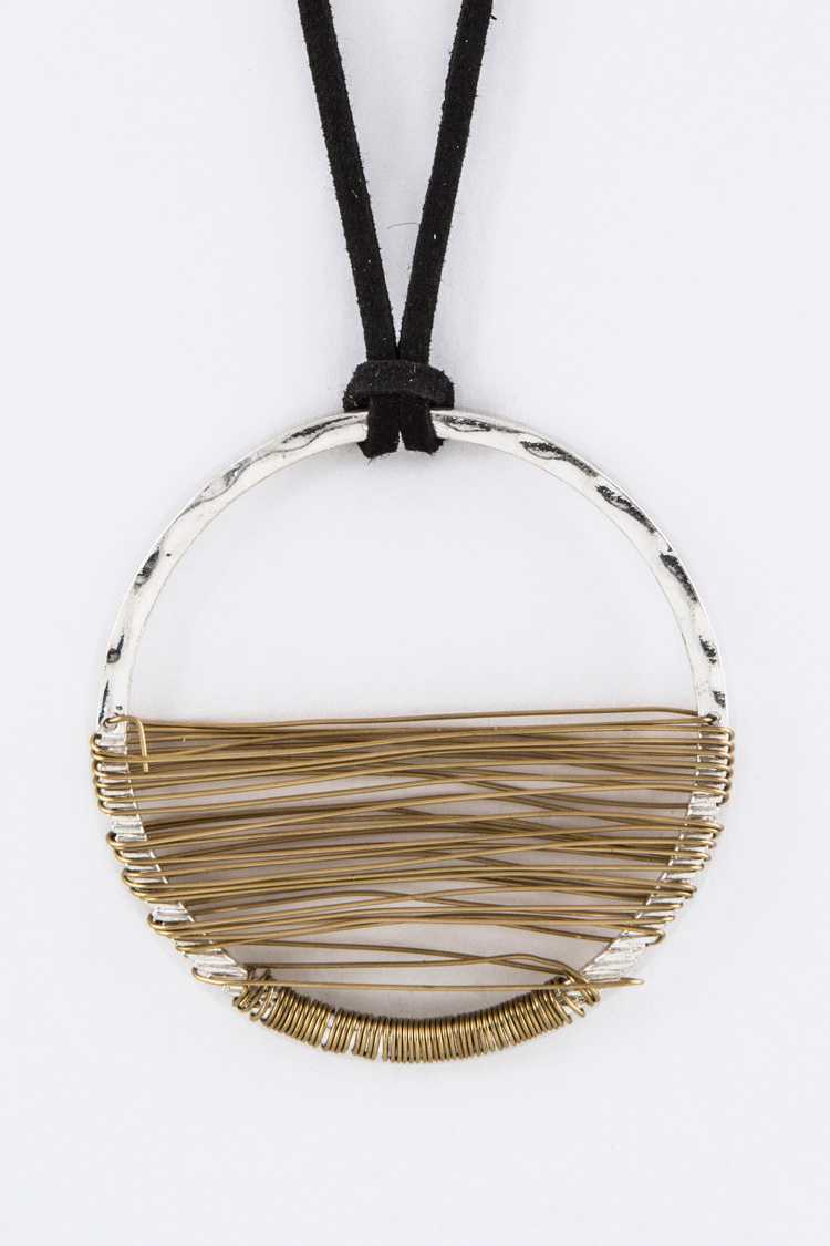 Wired Hoop Pendant Necklace