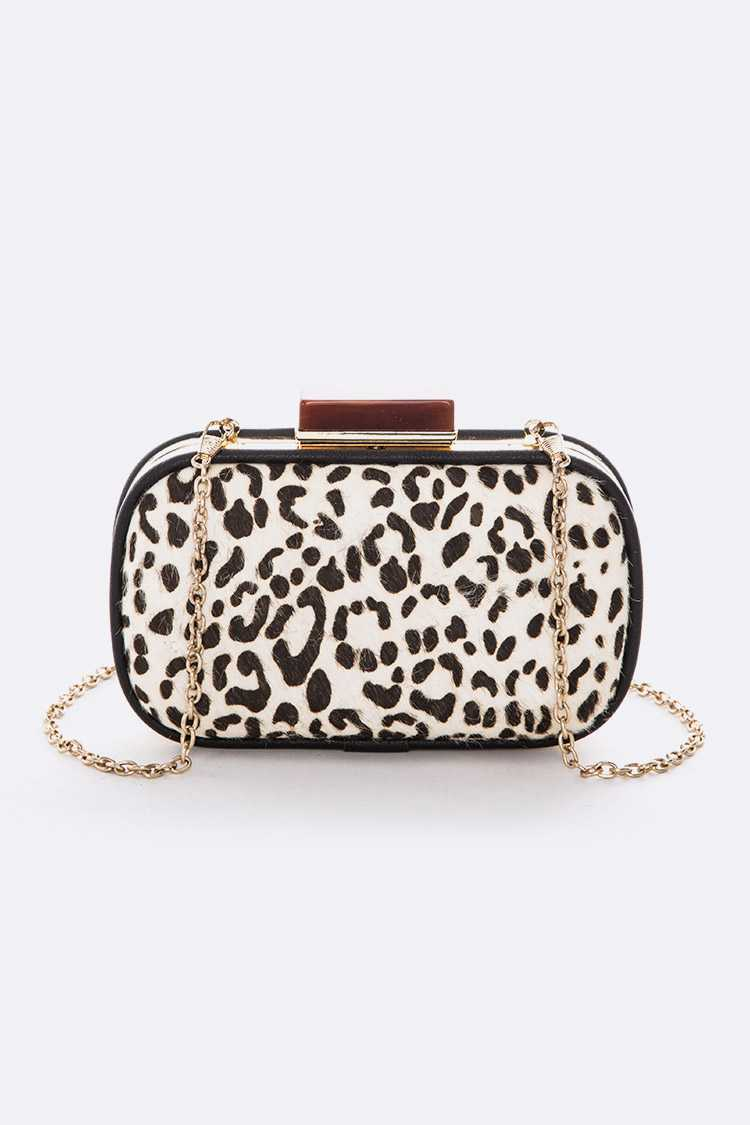 Animal Print Calf Leather Box Clutch