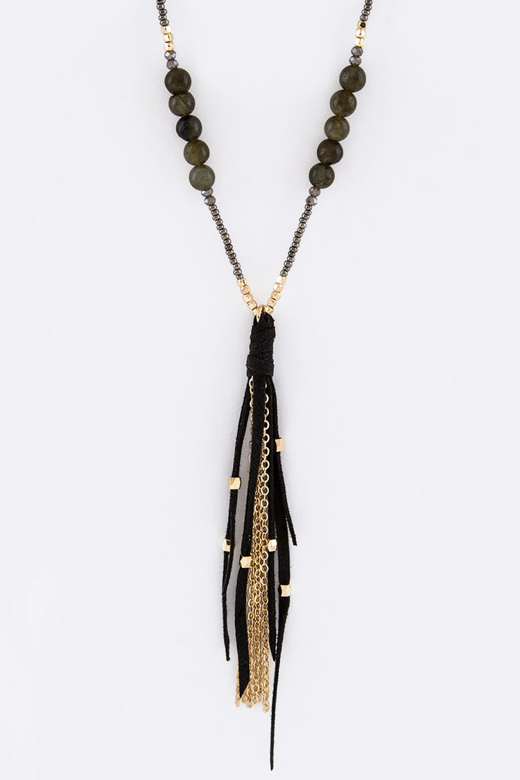 Mix Beads & Suede Tassel Necklace