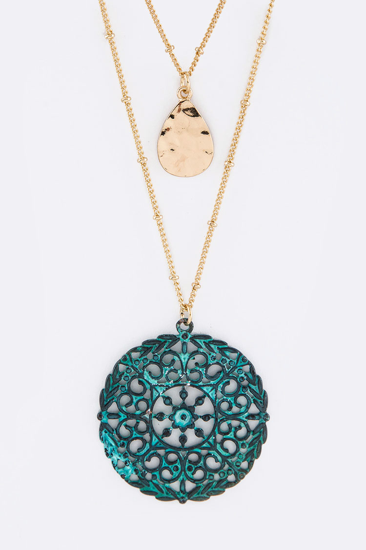 Filigree Medallion & Teardrop Layer Necklace