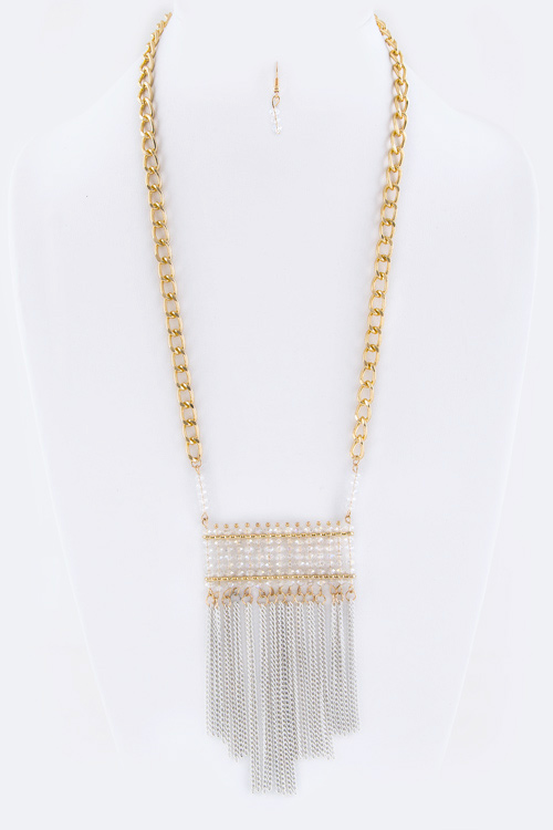 Layered Beads & Fringe Chain Necklace Set
