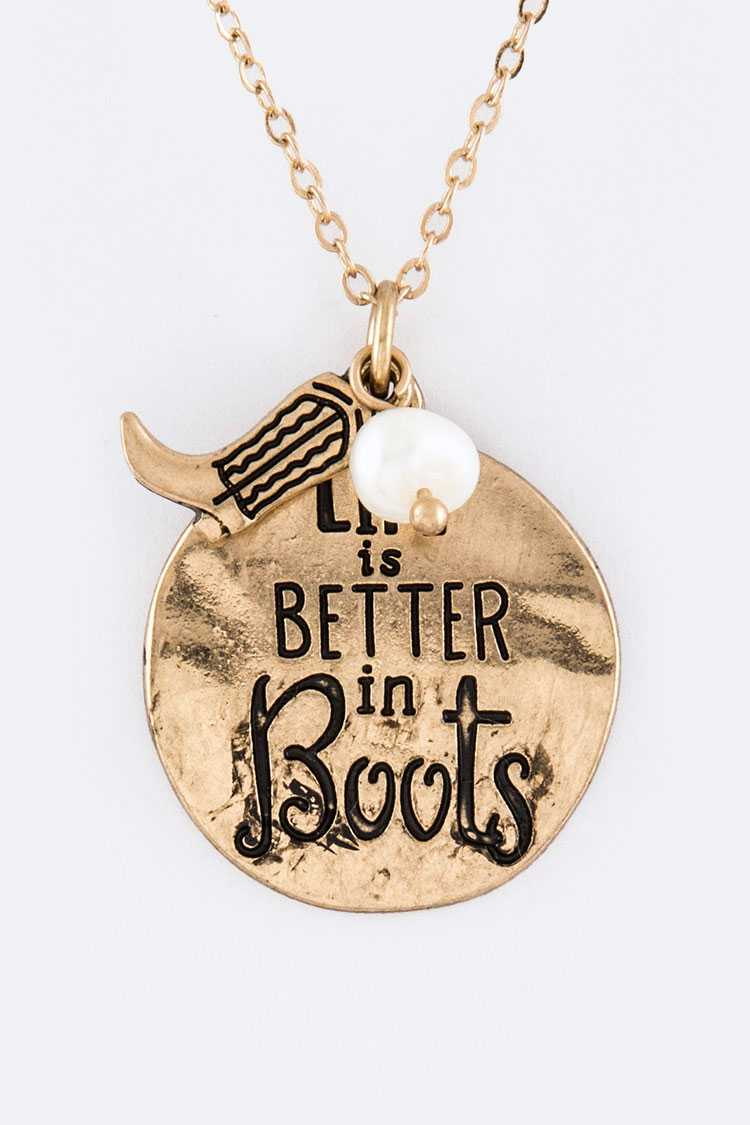 Life Is Better In Boots Mix Charms Necklace Set