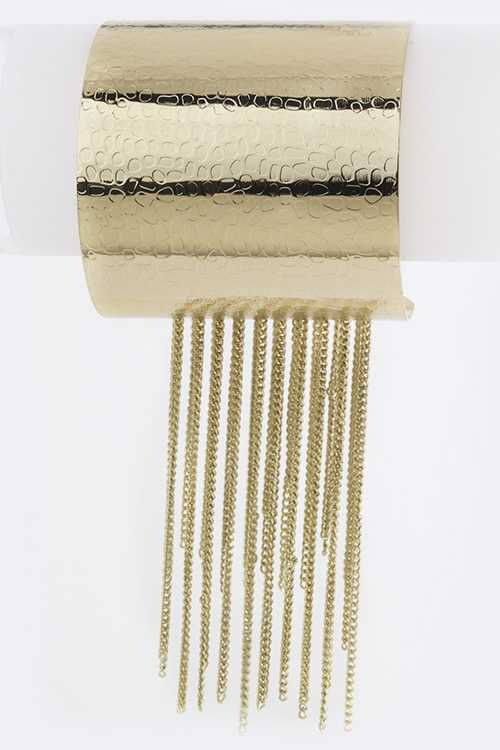 Fringed Chain Textured Metal Open Cuff