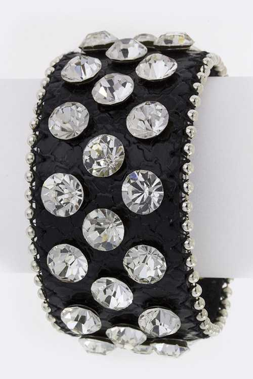 Crystal Stud Genuine Leather Cuff