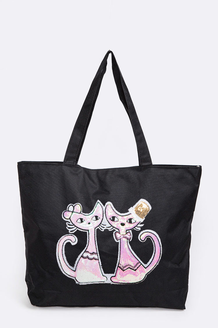 Love Cats Sequin Patch Tote
