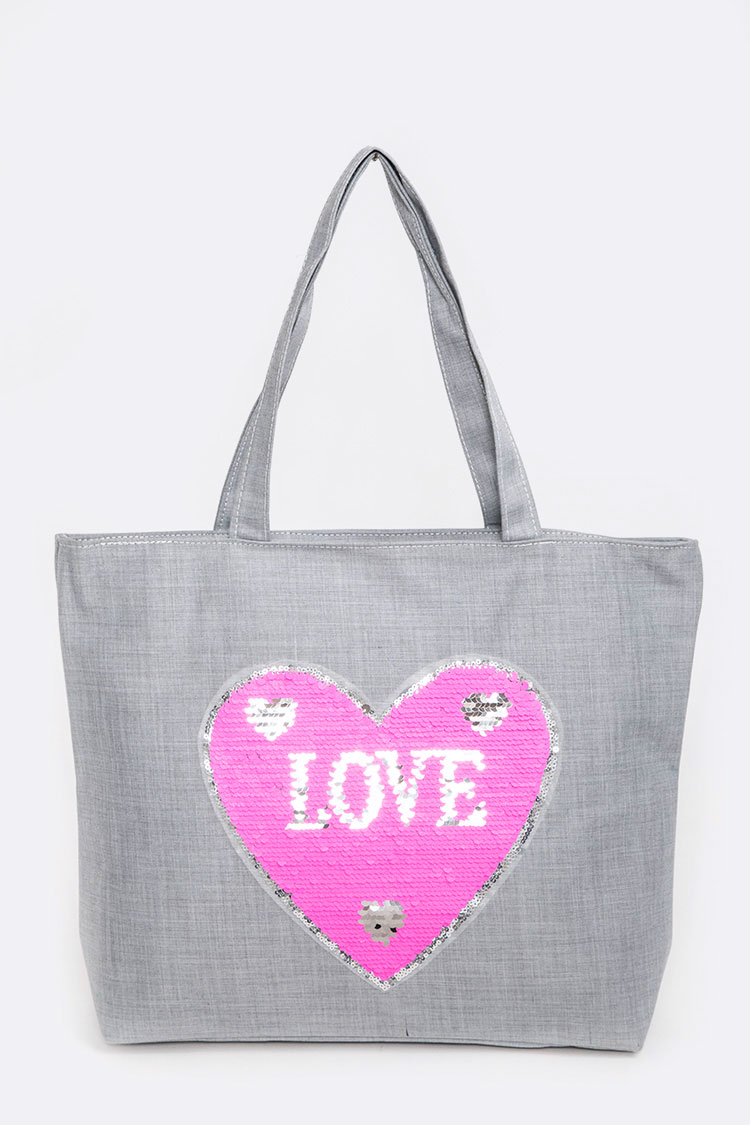 Reversible Sequins LOVE Tote