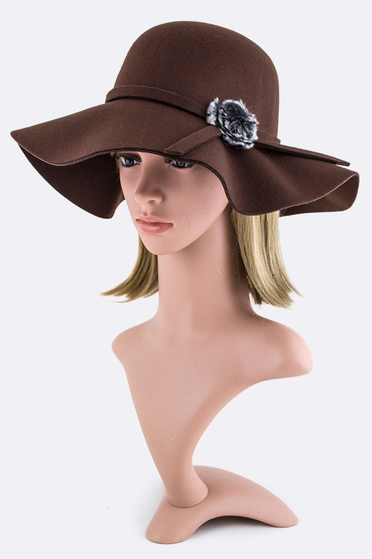 Fur Ball Bow Felt Floppy Hat