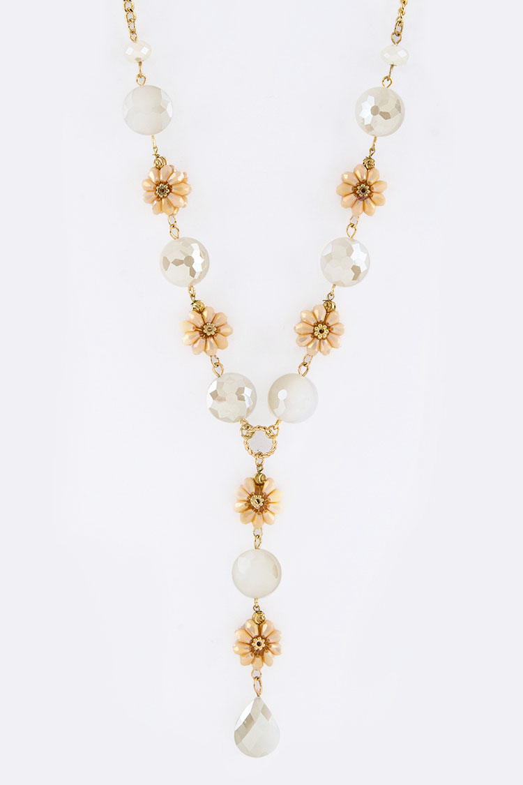 Beads Flower & Crystal Necklace Set
