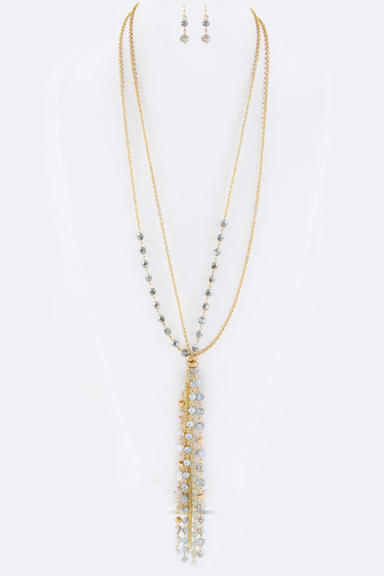 Fringe Mix Beads Layer Necklace Set
