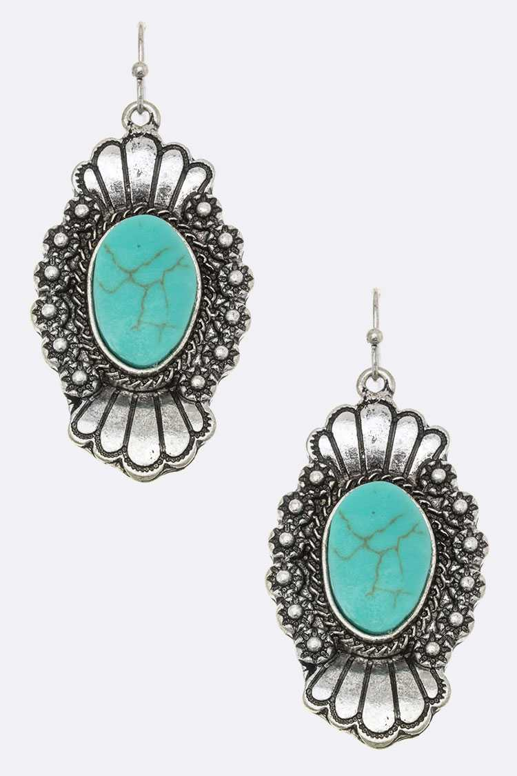 Turquoise Squash Blossome Earrings