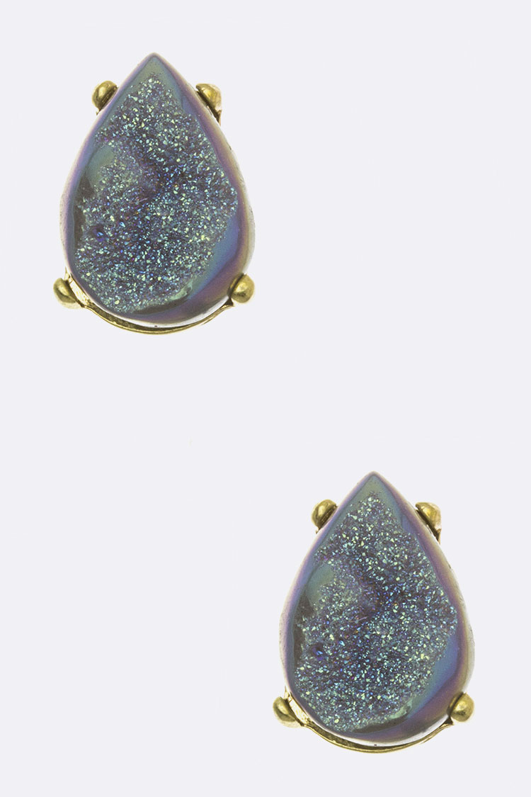 Druzy Teardrop Stud Earrings
