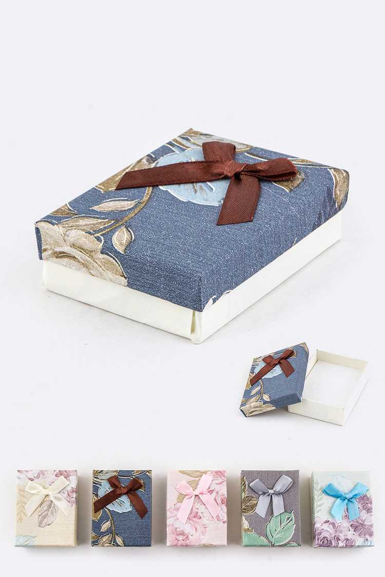 Floral Print with Bow Jewelry Gift Box Set