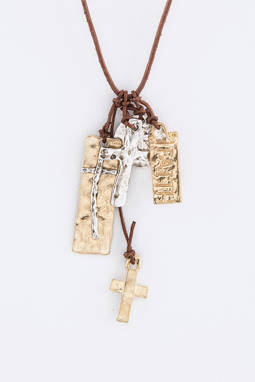 FAITH Mix Charms Leather Necklace