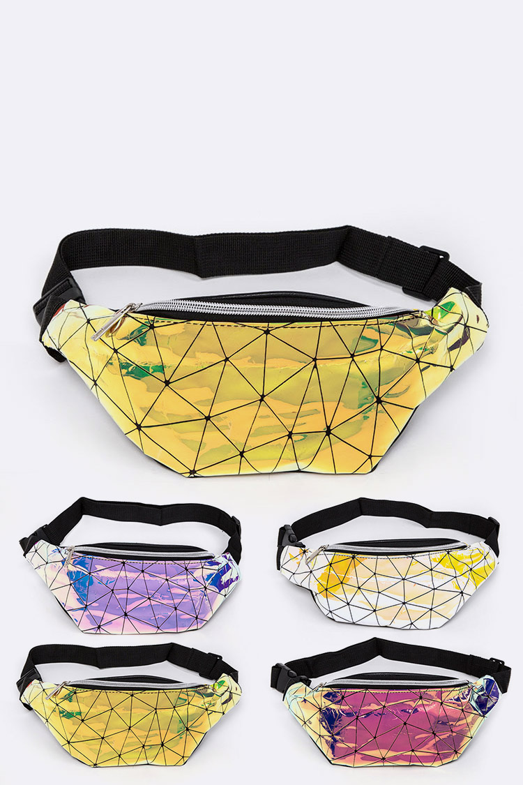 Geometric Metallic Fanny Pack