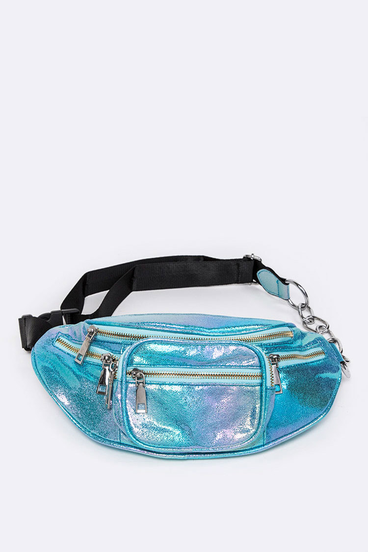 Shimmery Leather Chain Strap Iconic Fanny Pack