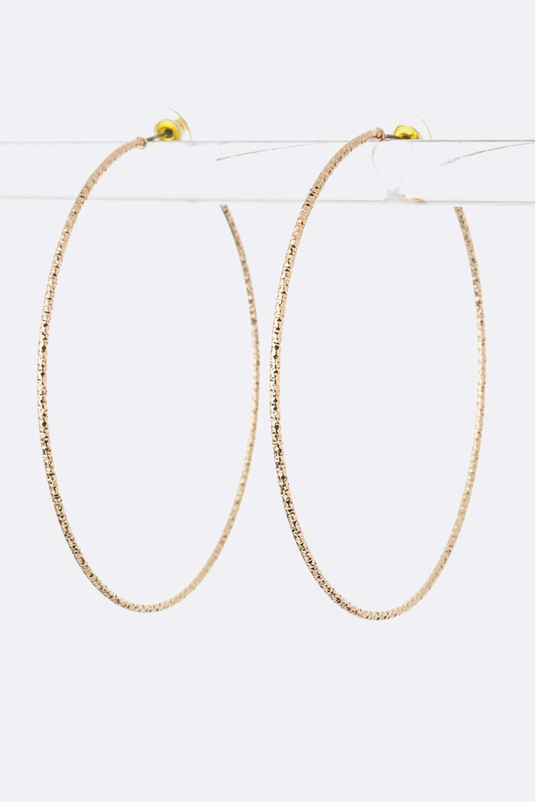 Textured Metal Skinny Hoop Earrings