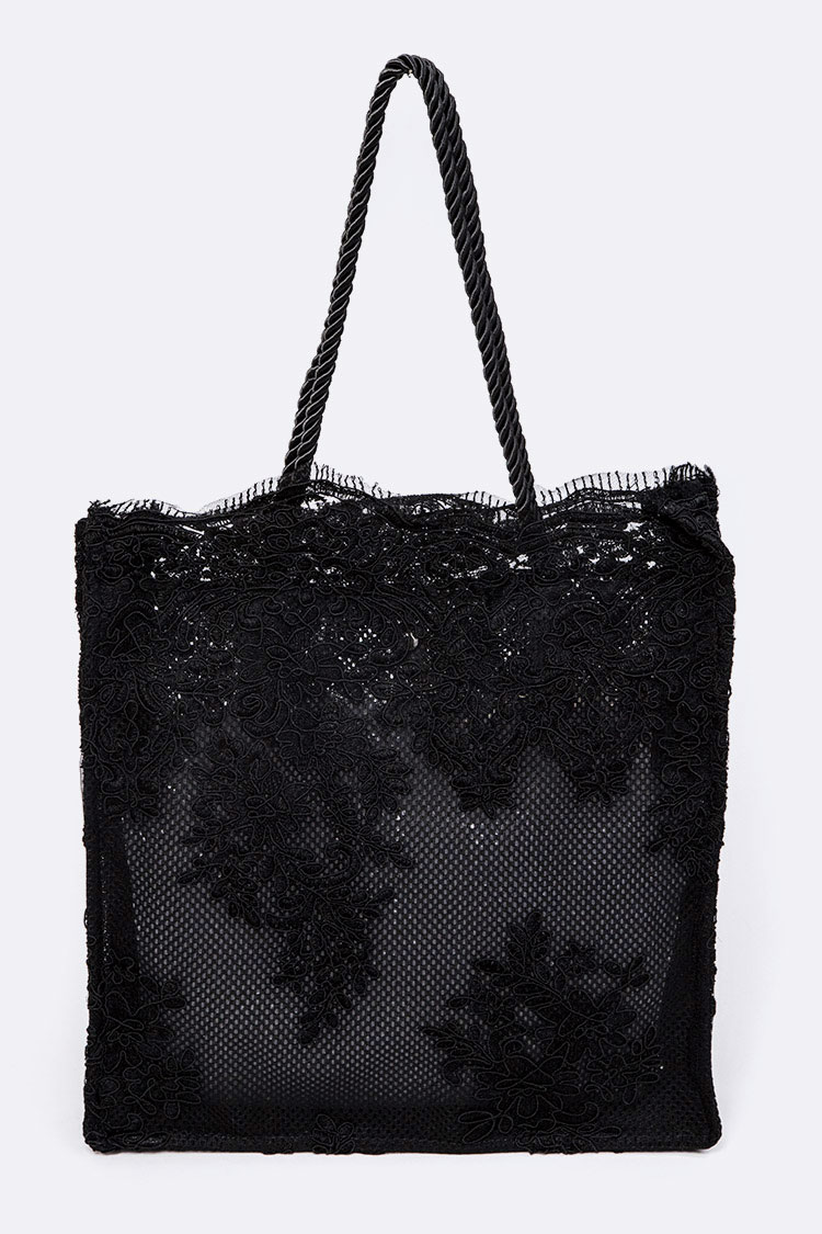 Lace Fabric Cleared Structure Tote
