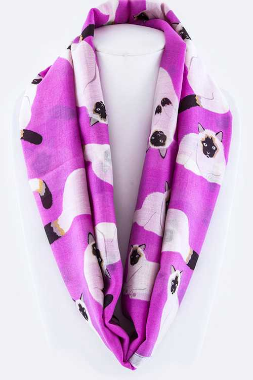 Cat Theme Fashion Infinity Scarf