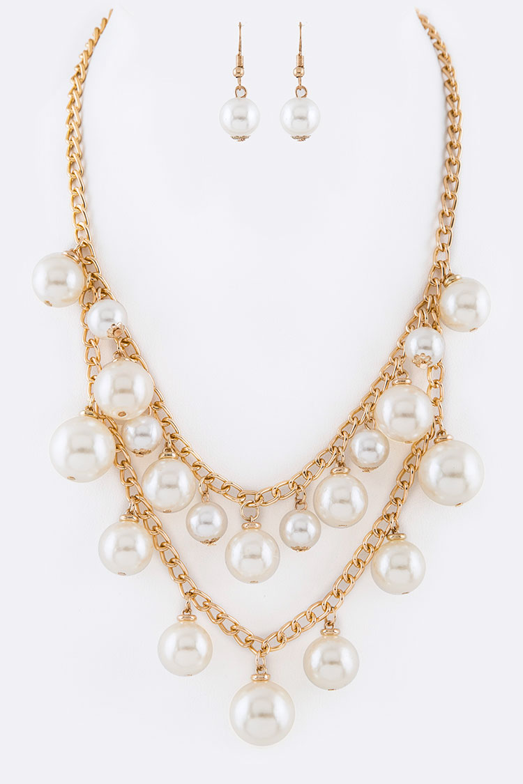 Fringe Pearl Layer Necklace Set