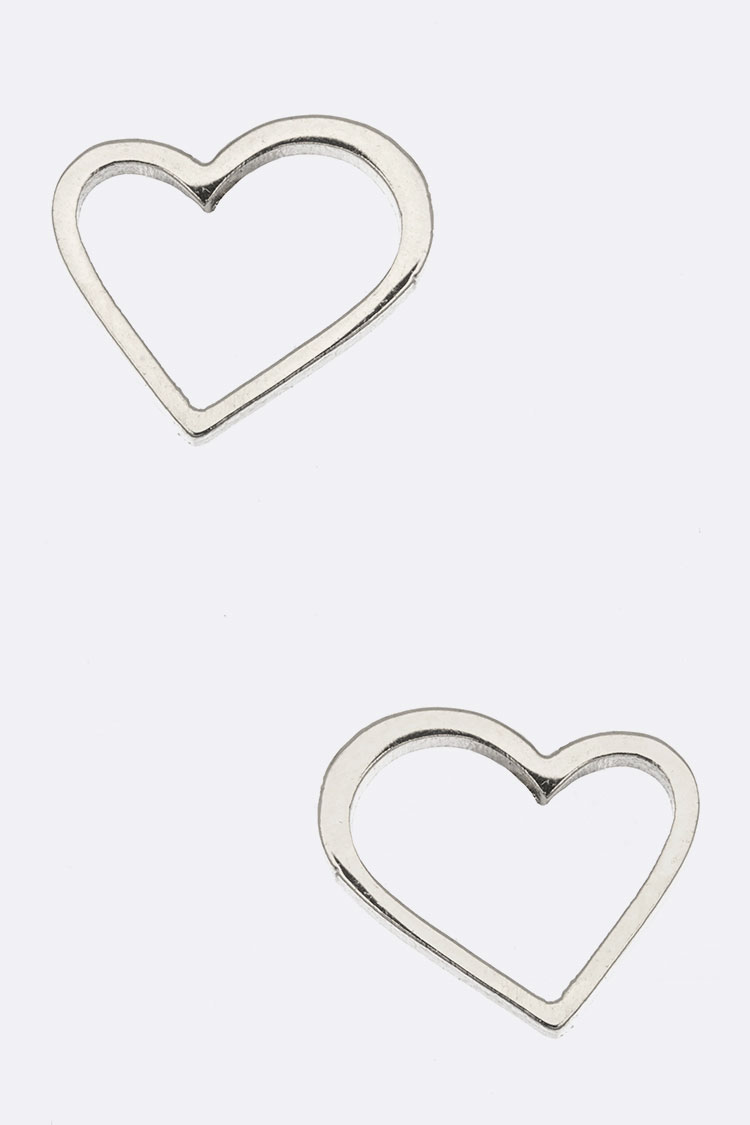 Stainless Steel Heart Stud Earrings