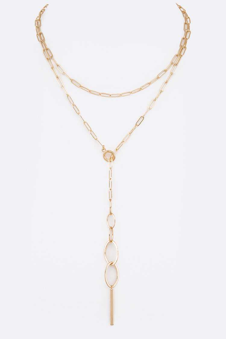 Mix Rings Chain Drop Layer Necklace