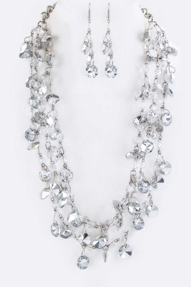 Mix Crystal Statement Layer Necklace Set
