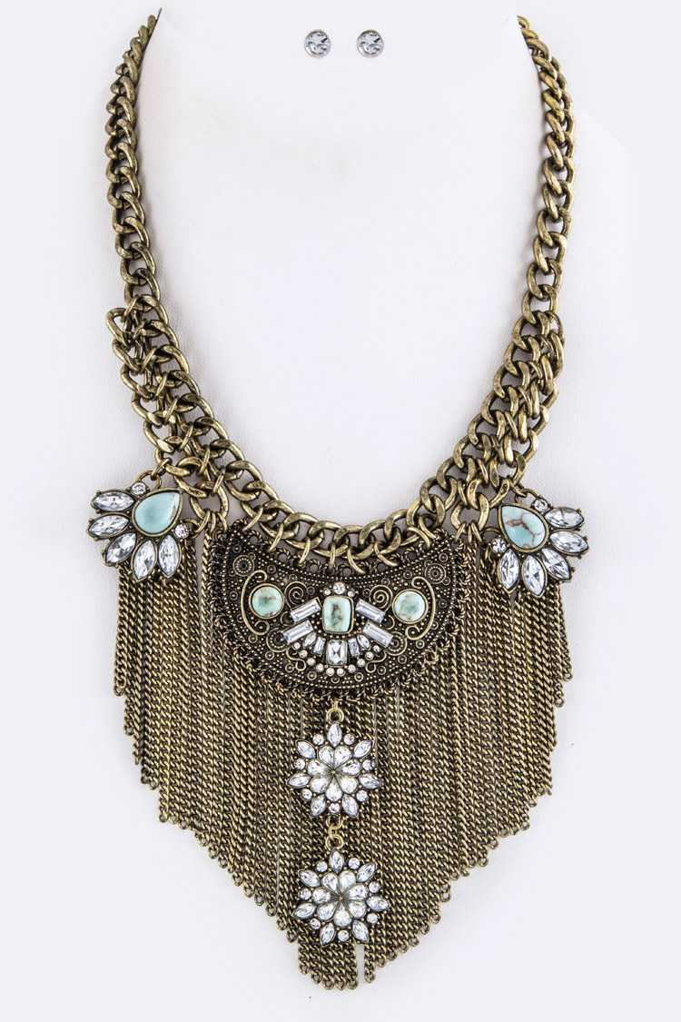 Crystal Flowers Fringe Chains Statement Necklace Set